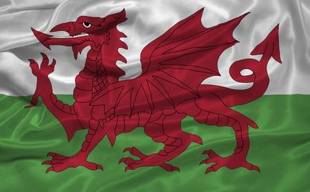 welsh flag: Sventolando la bandiera di seta del Galles Archivio Fotografico