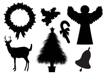 christmas bell: Set of Christmas silhouettes on white background