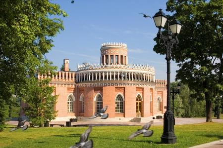 tsaritsino: the third cavalier building in tsaritsino park, moscow  russia Editorial