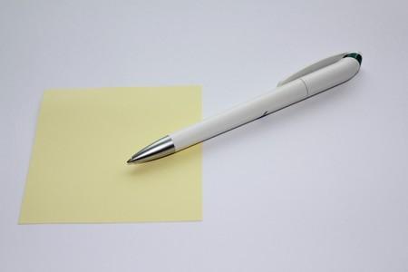 biro: White ballpoint with note