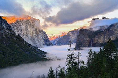bridalveil fall: Beautiful view of Yosemite with lightly fog in the early winter. Landscape Photgraphy Stock Photo