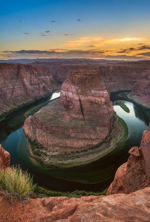 Landmark of Page, Arizona, The famous vista point Horseshoe Bend during sunset