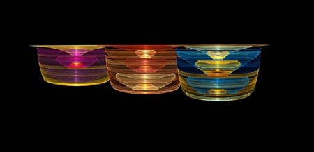 Abstract illustration of 3 ornate glass bowls Stock Photo