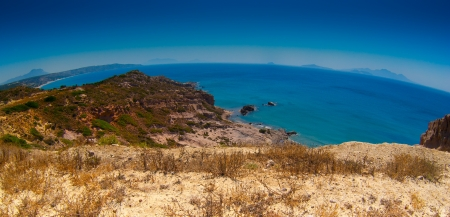 Panoramic view fisheye Kos Kefalos beach photo