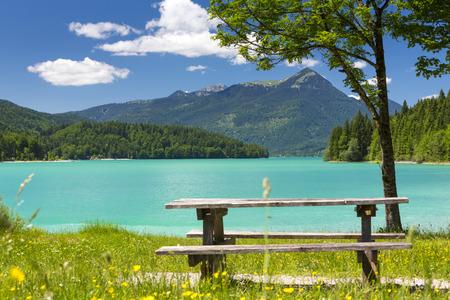Bavaria, Walchensee, Bay Niedernach, Simetsberg Stock Photo