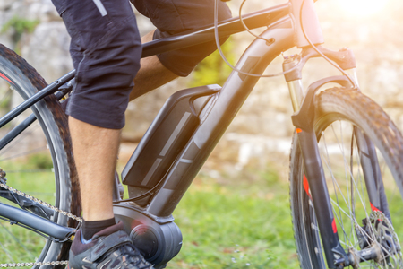 Close up of battery of an E-Mountainbike Stock Photo - 74987424
