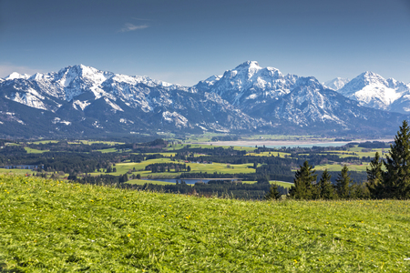Germany, Bavaria, Allg?u, Panorama from the Auerberg