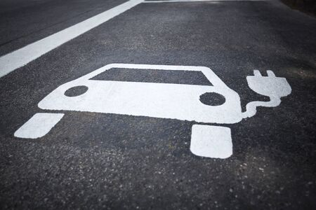Parking symbol for electric cars being charged Stock Photo