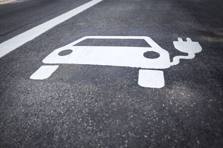 Parking symbol for electric cars being charged 版權商用圖片