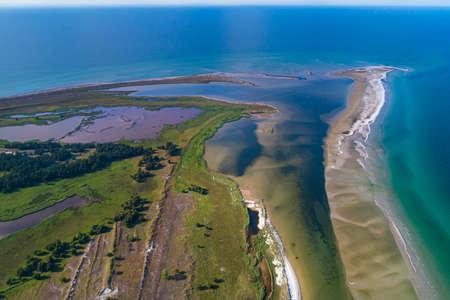 Baltic sea, Germany, Mecklenburg-Western Pomerania, Darß, Prerow, aerial view of seaside