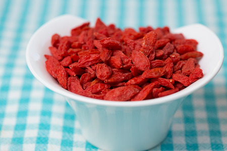 checked fabric: dried goji berries in white bowl on checked fabric
