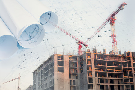 Collage with construction plans, cranes on a construction site