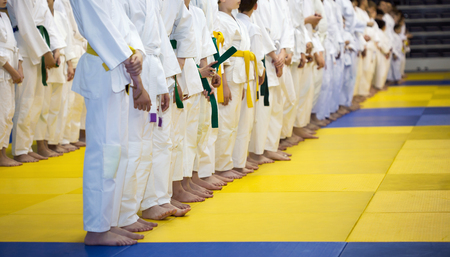 arts: Group of children in kimono standing on tatami on martial arts training seminar