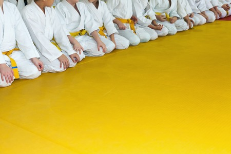 yellow art: Children in kimono sitting in a line on tatami on martial arts seminar