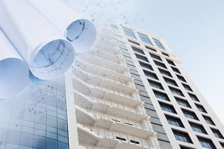 Incroyable Collage With Construction Plans And A Modern Office Building Stock Photo,  Picture And Royalty Free Image. Image 52593303.