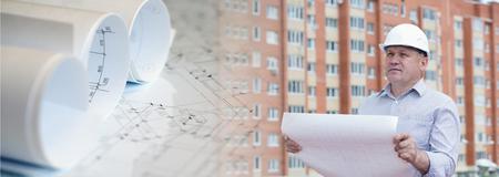 Collage con el ingeniero en un fondo con los planes de edificación y construcción