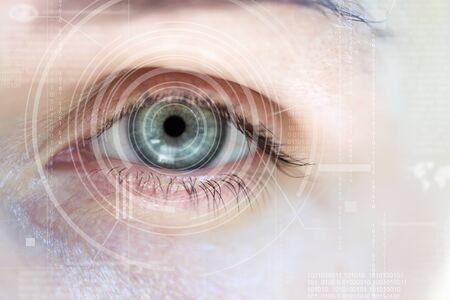 digital eye: Modern cyber woman with digital eye technolgy