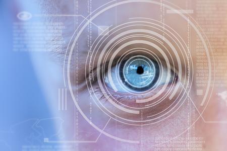 technolgy: Modern cyber boy with digital eye technolgy