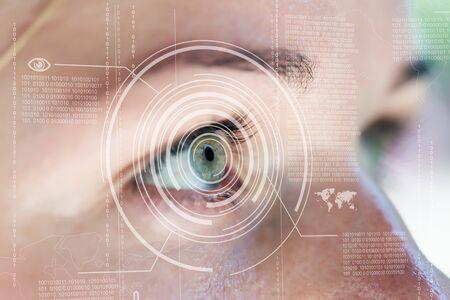 technolgy: Modern cyber woman with digital eye technolgy