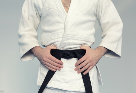 Martial arts Master with black belt in white kimono Stockfoto