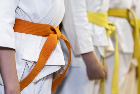 Children with colored belts in kimono sitanding in a line on martial arts class. Selective focus