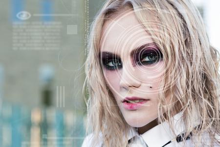 technolgy: Modern cyber punk woman with digital eye technolgy