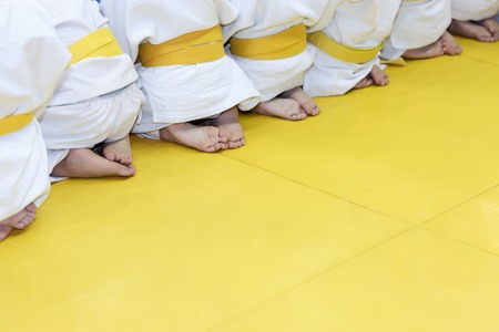 Group of children in kimono sitting on tatami on martial arts training seminar. Selective focus Stockfoto