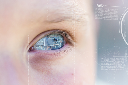 technolgy: Modern cyber boy with digital chip eye technolgy