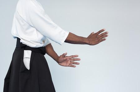 Martial arts Master in black hakama standing in combat stance