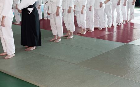 sensei: Group of children in kimono standing on tatami on martial arts training seminar. Selective focus Stock Photo