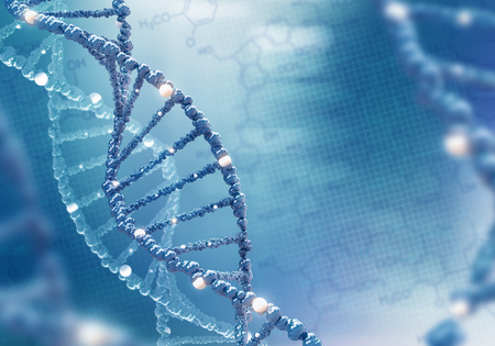 DNA helix on the colored background Stock Photo