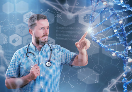 Innovative technologies in science and medicine. 3D illustration elements in collage Stock Photo