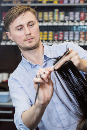 haircut: Handsome hairdresser making a haircut