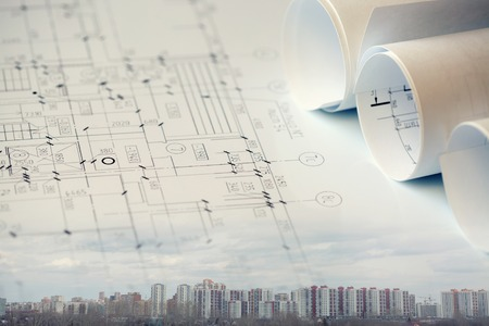 architect tools: Construction collage concept Stock Photo