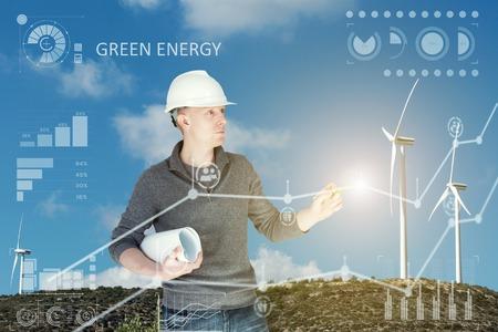 Engineer and a windfarm