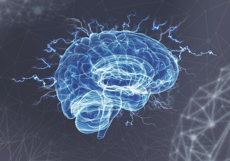 A human brain on blue background