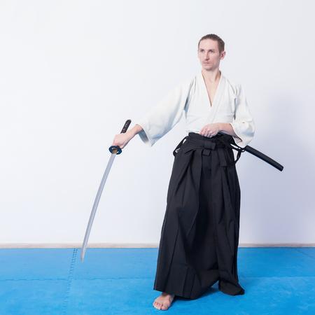 A man with katana practice Iaido Stock Photo