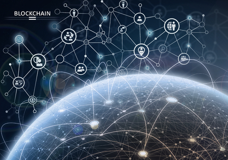 Global financial network. Blockchain encryption concept