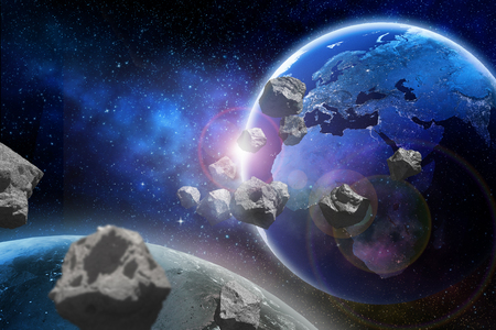 Asteroids flying close to the planet Earth. Zdjęcie Seryjne - 92832519