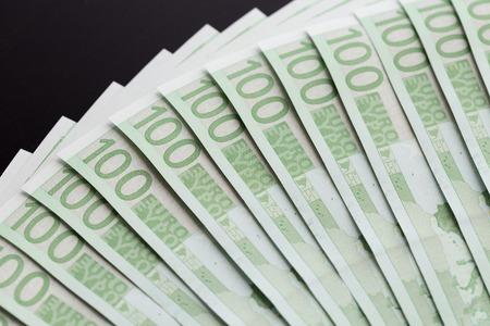 Close-up of 100 Euro banknotes