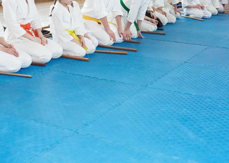 People in kimono on martial arts weapon training seminar Stock Photo