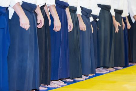 People in kimono and hakama on martial arts training Stock Photo