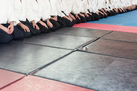 People in kimono and hakama on martial arts training Stock Photo