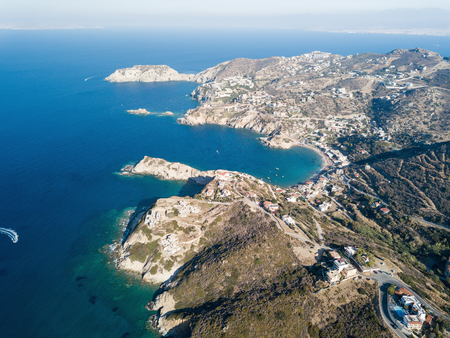 Aerial drone photo of beautiful coastline with small bay