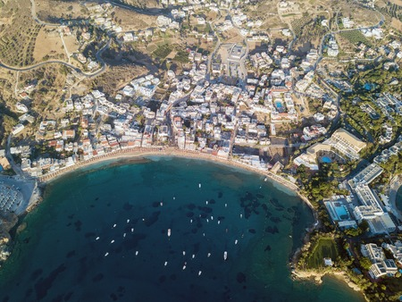 Aerial drone photo of beautiful cretan village Stockfoto