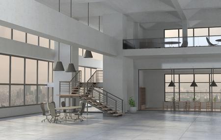 El interior de la oficina moderna durante el día. Render 3D Foto de archivo
