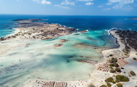 Aerial photo of Caribbean like beach with turquoise water and pink sand Stok Fotoğraf