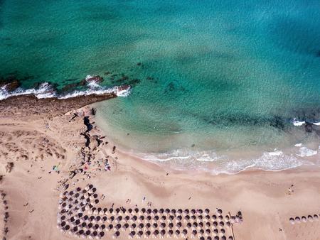 Wide sandy coastline, long sea waves of Falasarna beach Crete, Greece Stok Fotoğraf