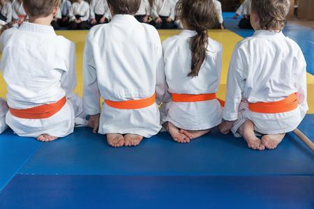 Group of children in kimono sitting on tatami