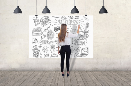 Young woman drawing a business sketch. 3d render elements in collage